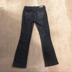 Low waist, wide leg, dark jeans with rhinestones